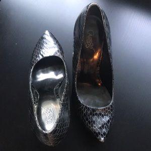 Black + Silver Snakeskin Heels